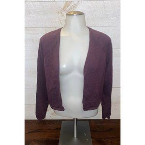 LOFT Purple Perforated Open Front Cardigan Sweater